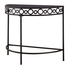 Mia Crescent Entryway Console Table Pewter Metal And Black Tempered Glass