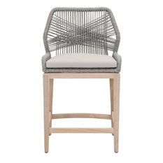 Outdoor Counter Stool, Platinum Rope and Solid Gray Teak