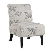 Linon Linen Script Lily Chair, Butterfly