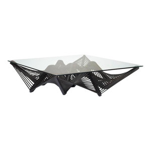 Geo Cocktail Table, Square, With Glass, Dark Brown