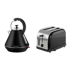 Electric Kettle and Toaster Set, Stainless Steel, Black