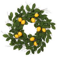 "24"" Green Salal Leaf/Yellow Lemon Wreath"