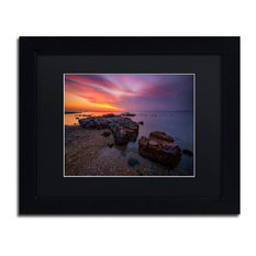 'Beach at Sunset 6' Matted Framed Canvas Art by Lincoln Harrison