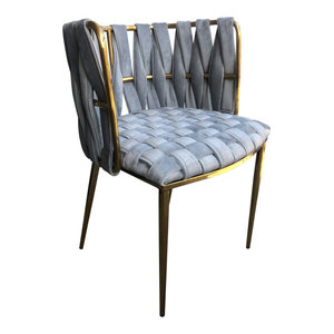 Gray Milano Dining Chair with Gold Legs