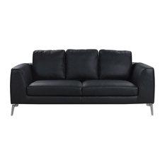 Attrayant SofaMania   Mid Century Modern Plush Real Leather 2 Seater Sofa, Black