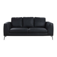 Sofamania Mid Century Modern Plush Real Leather 2 Seater Sofa Black
