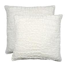 """Belton Faux Fur Pillows, Set of 2, Ivory Mink, 18""""x18"""""""