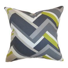 "Hoonah Geometric Pillow, Gray, 18""x18"""