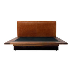 "SQB Leather Queen Bed, Burgundy, Walnut, 101""x36"""