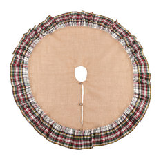Inverness Collection Plaid Ruffle Design Jute Tree Skirt