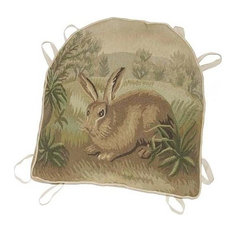 Chair Cushion Aubusson Rabbit Left-Facing 18x20 Beige Brown