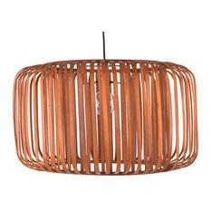Bamboo Barrel Pendant Lamp, Rustic Brown
