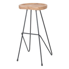 Sterling Backon Stool Natural Teak Bronze Iron