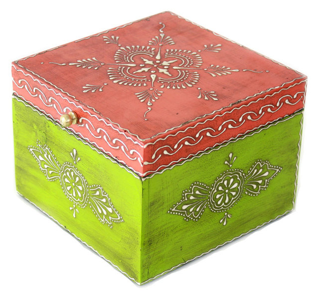 Square Wooden Jewelry Box Hand Painted in Orange and Green Asian