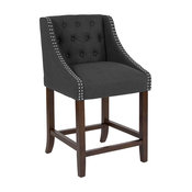 """Offex Transitional Tufted Walnut Counter Height Stool, Charcoal, 24"""" High"""