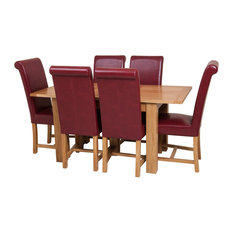 Hampton Oak Extending Dining Table, 6 Washington Chairs, Red Leather