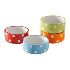 Mason Cash - Mason Cash Polka Dot Bright's Assorted Bowls, 4-Piece Set, 8 cm - Cat Bowls & Dog Bowls