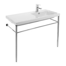 Ceramic Console Sink With Polished Chrome Stand 1-Hole