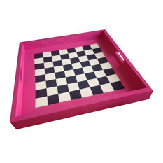 "Square Checkerboard 24"" Tray With Pieces, L"