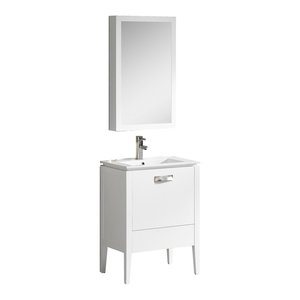 """Fine Fixtures Manchester Vanity With Cabinet, White, 24"""""""