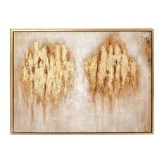 "Large Metallic Gold Traditional Abstract Art Painting in Wood Frame, 47""x36"""