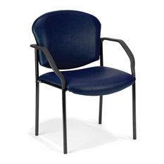 Ofm Manor Series Guest/Reception Chair, 4 Legs, Vinyl, Navy