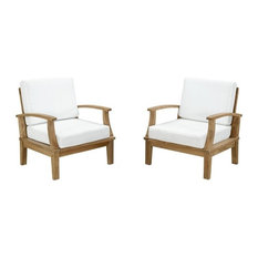 Modway Marina Outdoor Teak Armchairs in Natural and White, Set of 2