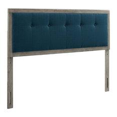 Draper Tufted King Fabric And Wood Headboard Gray/Azure