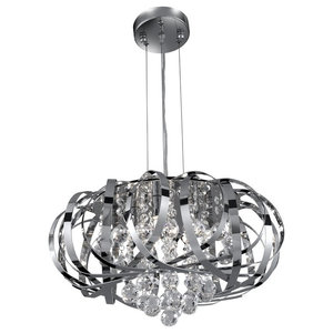 Tilly Modern Chrome 5-Light Pendant With Crystal Droppers