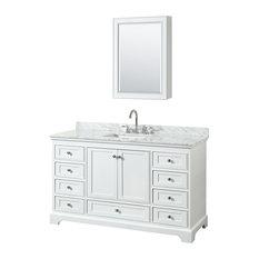 "Deborah 60"" Vanity, Medicine Cabinet, White, White Carrera Marble, Undermount"