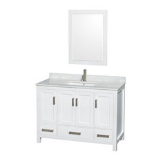 "Sheffield 48"" White Vanity, White Carrera Marble Top and Undermount Square Sink"