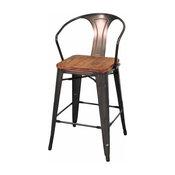 Grand Metal Counter Chairs, Set of 4, Gunmetal