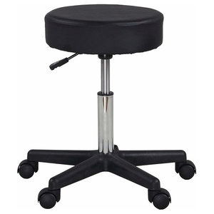 Consigned Bar Stool Upholstered, Black PU Leather, Rolling Cushion Design