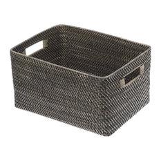 KOUBOO - Black Antique Rattan Storage Basket, Large - Baskets