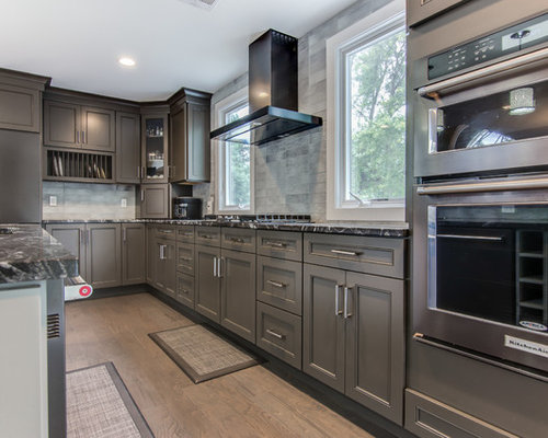 Black Stainless Steel KitchenAid Appliances In A Gray Kitchen In NJ