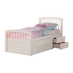 Donco Kids Brimly 6-Drawer Storage Bed, White, Twin