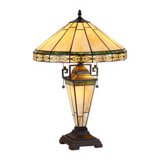 """BELLE, Tiffany-style 3 Light Mission Double Lit Table Lamp, 16"""" Shade"""
