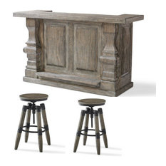 Rustic Bar and Bar Stool Set