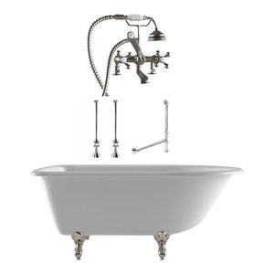 """61"""" Cast Iron Clawfoot Tub Complete Deck Mount Plumbing Package, Brushed Nickel"""