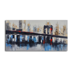 Bridge To Downtown Hand Painted Canvas Art