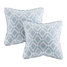 Printed Square Pillow Pair, Blue