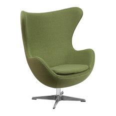 Egg Chair With Tilt-Lock Mechanism, Green Wool