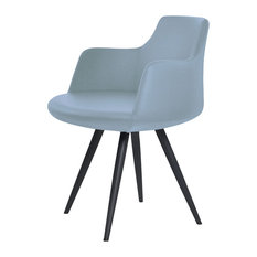 Dervish Star Dining Chair Black Powder Steel Base Blue Leatherette