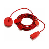 Fire-red hanging light Multiplo w. 8 metre cable