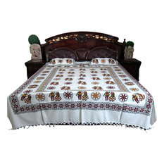 Mogul Interior - Block Print Cotton Indian Bedcover With Pillows - Blankets