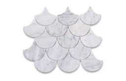 "12.25""x14.38"" Carrara White Large Fish Scale Fan Shaped Mosaic Tile Polished"