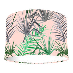 Pink Tropical Leaf Lampshade With Standard White Lining, 30x20 Cm, Ceiling Lamp