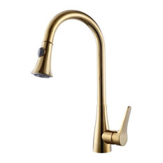 Mora Deck Mounted Kitchen Sink Faucet With Pull Down Sprayer, Gold