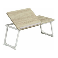 Folding Bed Desk Table, MDF With Steel Legs, Wood and White