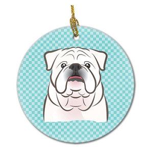 Checkerboard Blue White English Bulldog Ceramic Ornament